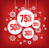 Christmas Sale Discount Hanging with Snowflakes Royalty Free Stock Photos