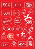 Christmas sale and discount labels and tags. On classic red background vector illustration Stock Photos