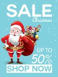 Christmas sale discount offer. Cartoon Santa Claus with huge red bag with presents in snow scene for New Year promotion banners, royalty free illustration