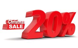 Christmas sale. Discount 20 percent off. 3D rendering Royalty Free Stock Photo