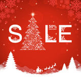 Christmas sale discount. On red background vector illustration Stock Image