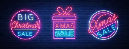 Christmas sale discounts, a set of cards in neon-style. Collection of Neon signs, bright poster, luminous night Stock Image