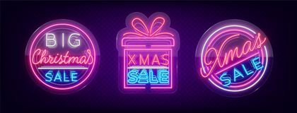 Christmas sale discounts, a set of cards in neon-style. Collection of Neon signs, bright poster, luminous night Stock Photography
