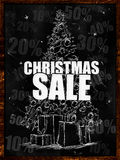 Christmas Sale Drawing on blackboard. Discount sales Royalty Free Stock Photo