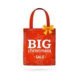 Christmas Sale Fabric Cloth Bag Tote. Vector Stock Photo