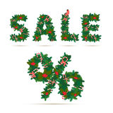 Christmas Sale festive wreath letters and percent figure Royalty Free Stock Image