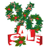 Christmas Sale festive wreath percernt with paper present bags Royalty Free Stock Photo