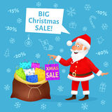 Christmas sale. Flat funny old man character holding Xmas shopping bag on blue background. Discount banner or poster Royalty Free Stock Photos