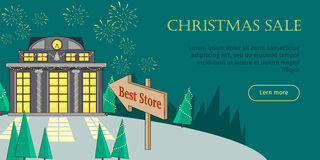 Christmas Sale Flat Style Vector Web Banner. Christmas sale conceptual web banner. Flat style vector. Pointer with best store text points to mall building in Stock Images