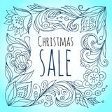 Christmas sale. Floral decorative frame Stock Images