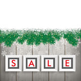 Christmas Sale Frames Snow Twigs Wood. Christmas sale frames with twigs and snow on the wooden background Royalty Free Stock Photos