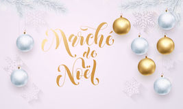 Christmas Sale French Vente de Noel golden glitter  Stock Images
