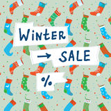 Christmas sale funny banner with socks Stock Photography