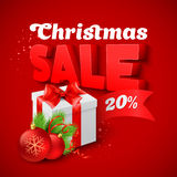 Christmas Sale with  gift box. Vector illustration Royalty Free Stock Photos