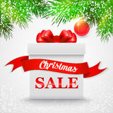 Christmas Sale. Gift white box with a red bow. Vector illustration. EPS 10 Stock Photos