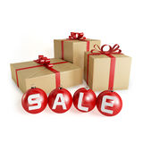 Christmas sale with gifts and balls, isolated Royalty Free Stock Images