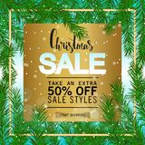 Christmas sale on a gold background. Green fir branch. Vector banner Royalty Free Stock Photo