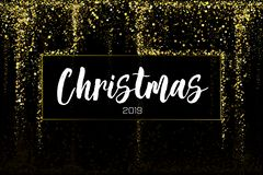 Christmas Sale Gold glitter confetti texture on a black background. Golden Christmas banner. Gold grainy dust abstract. Texture on a black background. Christmas vector illustration