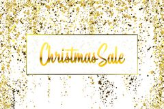 Christmas Sale Gold glitter confetti texture on a white background. Golden Christmas banner. Gold grainy dust abstract. Texture on a white background. Christmas royalty free illustration