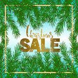 Christmas sale. Green fir branch, gold text. Vector banner. Royalty Free Stock Images