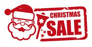 Stamp christmas sale red design. Christmas sale grunge rubber stamp vector illustration with santa claus stock illustration