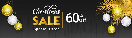 Christmas sale header or banner design with 60% discount offer,. Decorative baubles and pine leaves on black background vector illustration