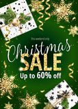 Christmas sale. Holiday banner for web or flyer. Christmas sale. Discounts up to 60 percent. Festive Banner for website or advertising flyer. Realistic vector Royalty Free Stock Photo