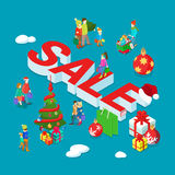 Christmas sale holiday decorated family flat 3d vector isometric. Christmas Sale flat 3d isometry isometric holiday concept web vector illustration set. Family Royalty Free Stock Photo