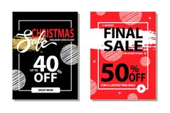 Christmas Sale Holiday Discount Final Prices 50. Off for limited time only poster with frame and brush strokes isolated on red background promo banner Royalty Free Stock Images