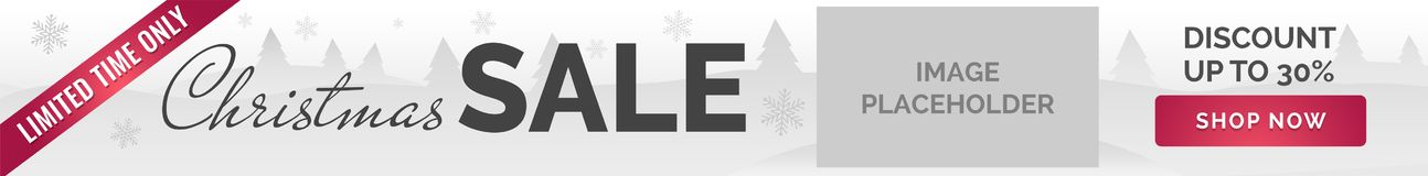 Christmas sale banner. White background, snowflakes, trees, image placeholder. Christmas Sale horizontal Ad banner white background, snowflakes, trees, image Royalty Free Stock Photo