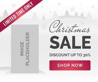 Christmas sale banner. White background, snowflakes, trees, image placeholder. Christmas Sale horizontal Ad banner white background, snowflakes, trees, image Stock Photo