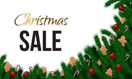 Christmas sale horizontal banner with fir brunches, gingerbread cookies  and red balls