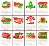 Christmas Sale Hot Price Cost Reduction Cookies. And text vector. Santa Claus and present with bows decoration, gift and belt, reindeer and house, reduced cost stock illustration