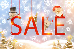 Christmas Sale ideas cocnept with snowflakes in paper style agai Stock Photography