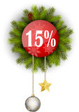 Christmas sale 15%. Illustration of Christmas sale 15 Royalty Free Stock Photos