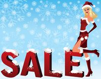 Christmas sale image with Santa girl. vector Stock Image