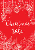Christmas sale invitation flyer with graphic. Royalty Free Stock Images