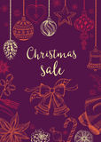 Christmas sale invitation flyer with graphic. Royalty Free Stock Photos