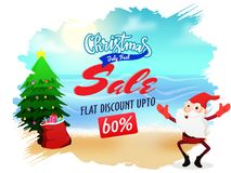 Christmas sale in July, poster, banner or flyer design with sant. A Claus, x-mas tree, and gift boxes sack, and upto 60% off offers Stock Image