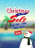 Christmas sale in July, poster, banner or flyer design with snow. Man, and upto 60% off offers Royalty Free Stock Images