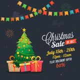 Christmas sale in July, poster, or banner template, with christmas tree and gift boxes. wth date and offers details. stock illustration