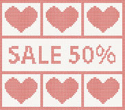 Christmas Sale.Knitted pattern with hearts Royalty Free Stock Photo