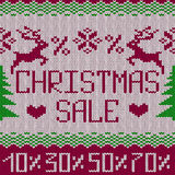 Christmas sale knitted seamless pattern or background Stock Images