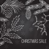 Christmas sale label on winter background. Vector illustration Stock Photo
