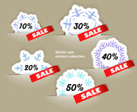 Christmas sale labels set. Christmas sale stickers in a pockers collection Royalty Free Stock Image