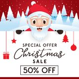 Christmas Sale leaflet, discount up to 50 percent. Christmas Sale leaflet, advertising poster for website and store, discount up to 50 percent. The Christmas Stock Images
