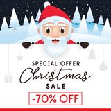 Christmas Sale leaflet, discount up to 70 percent. Christmas Sale leaflet, advertising poster for website and store, discount up to 70 percent. The Christmas Stock Image