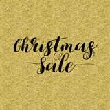 Christmas Sale Lettering Design. Black text isolated on gold background. Ideal for festive design, Christmas postcards. Vector illustration vector illustration