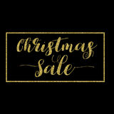 Christmas Sale Lettering Design. Golden glitter effect, isolated on black background, in square frame. Ideal for festive design, Christmas postcards. Vector stock illustration