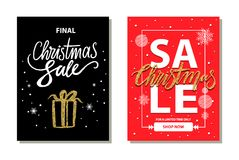 Christmas Sale Limited Time Vector Illustration. Christmas sale, for limited time only, promotional placards set posters made up of letterings, icon of present Royalty Free Stock Photography